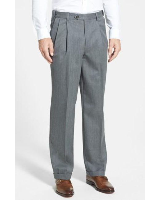 Berle - Blue Self Sizer Waist Pleated Wool Gabardine Trousers for Men - Lyst