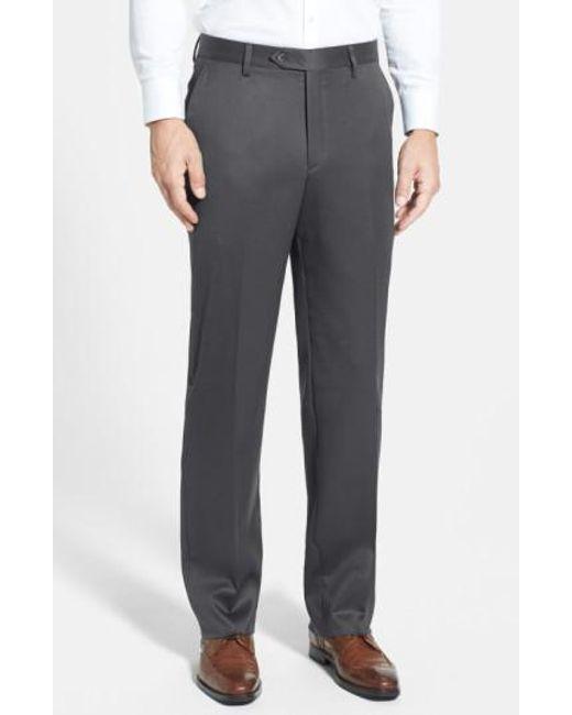 Berle | Gray Flat Front Wool Gabardine Trousers for Men | Lyst