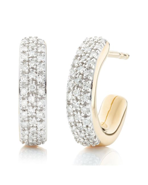 Monica Vinader - Metallic Fiji Mini Diamond Hoop Earrings - Lyst