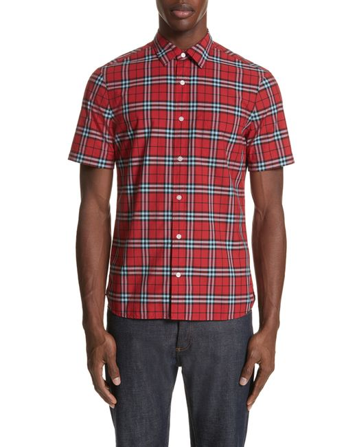 Burberry - Natural Checked Cotton-poplin Shirt for Men - Lyst