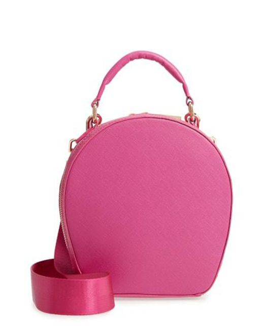Deux Lux - Pink Annabelle Faux Leather Circle Crossbody Bag - Lyst