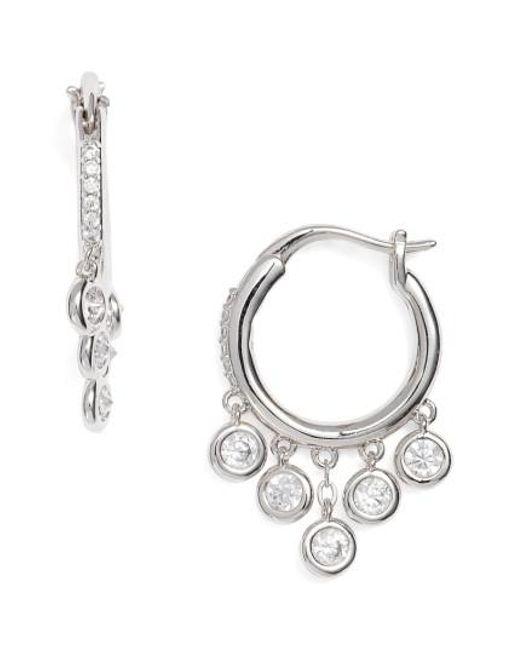 Nadri   Metallic Cubic Zirconia Hoop Earrings   Lyst
