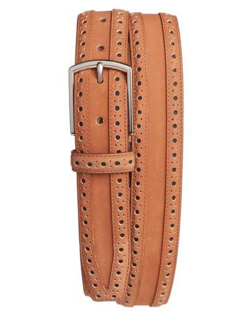 Cole Haan - Brown Brogue Nubuck Leather Belt for Men - Lyst