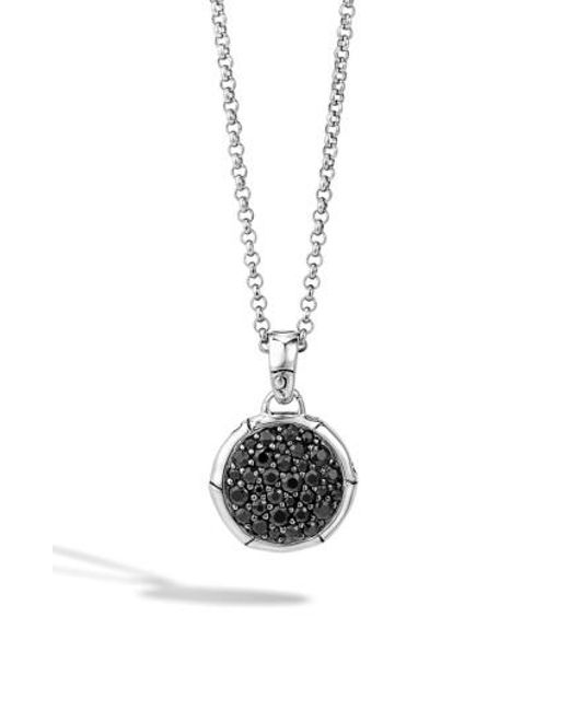 John Hardy | Black 'bamboo' Small Round Pendant Necklace | Lyst