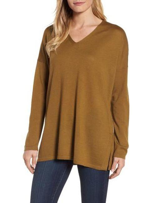 Eileen Fisher | Brown Merino Wool Tunic Sweater | Lyst