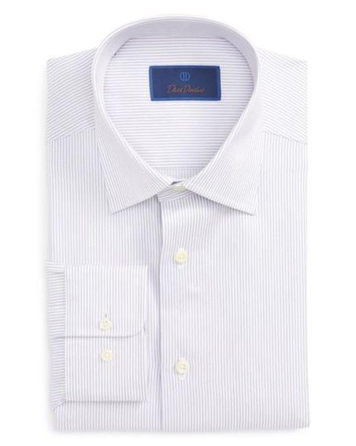 David Donahue | Purple Regular Fit Stripe Dress Shirt for Men | Lyst