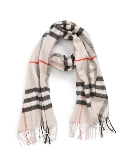 Burberry | Gray Heritage Giant Check Fringed Cashmere Muffler | Lyst
