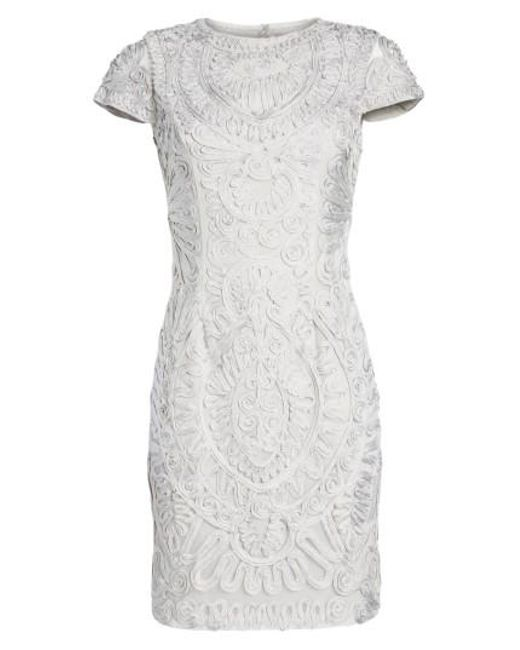 JS Collections | Metallic Short Sleeve Soutache Cocktail Dress | Lyst