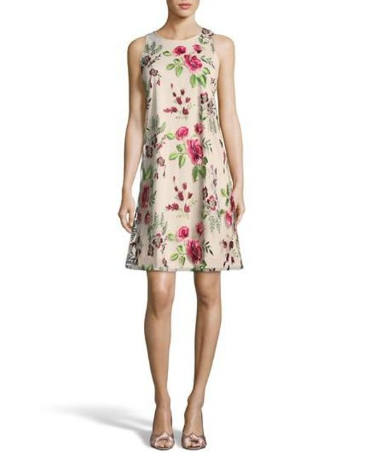 Eci - Pink Floral Embroidered A-line Dress - Lyst