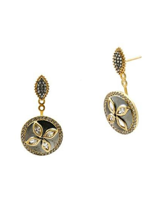 Freida Rothman | Metallic Fleur Bloom Drop Back Earrings | Lyst
