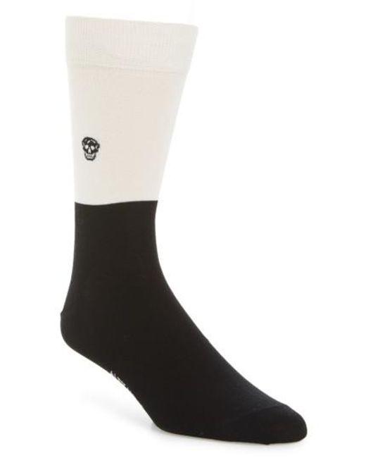 Alexander McQueen | Black Skull Colorblock Socks for Men | Lyst