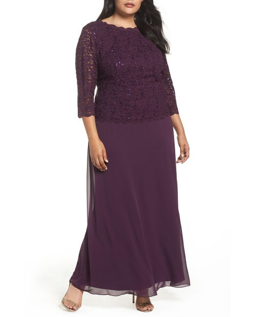 Alex Evenings - Purple Embellished Lace & Chiffon Gown - Lyst