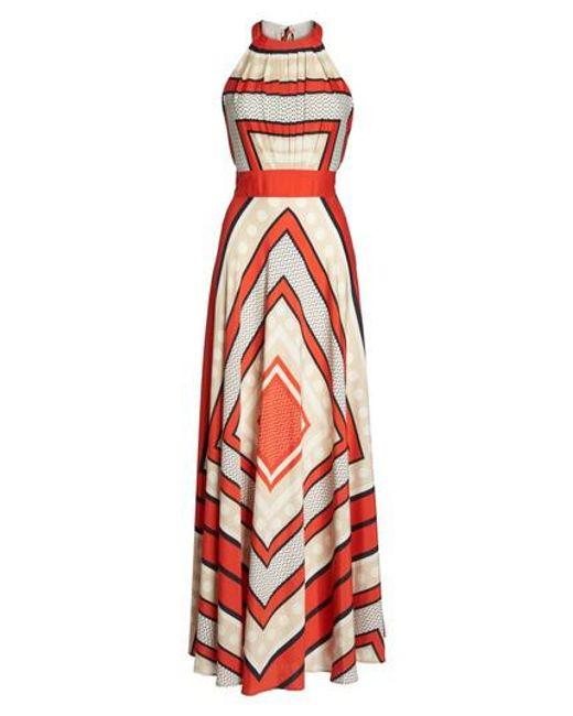Eliza J - Multicolor Scarf Print Crepe De Chine Fit & Flare Maxi Dress - Lyst