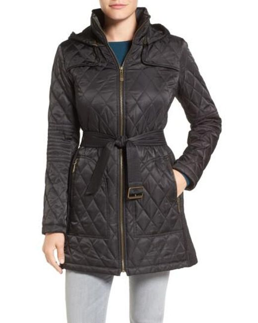 Vince Camuto | Black Belted Mixed Quilted Coat With Detachable Hood | Lyst