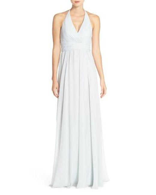 Amsale | White 'jennifer' V-neck Chiffon Halter Gown | Lyst