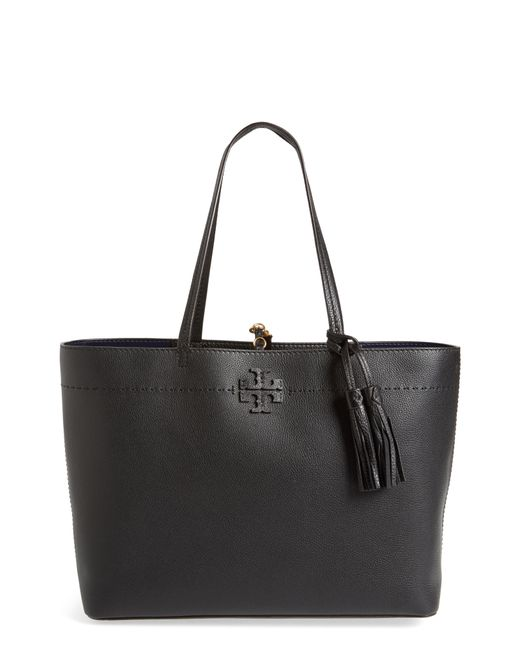 8b263e884337 Lyst - Tory Burch Mcgraw Leather Laptop Tote in Black