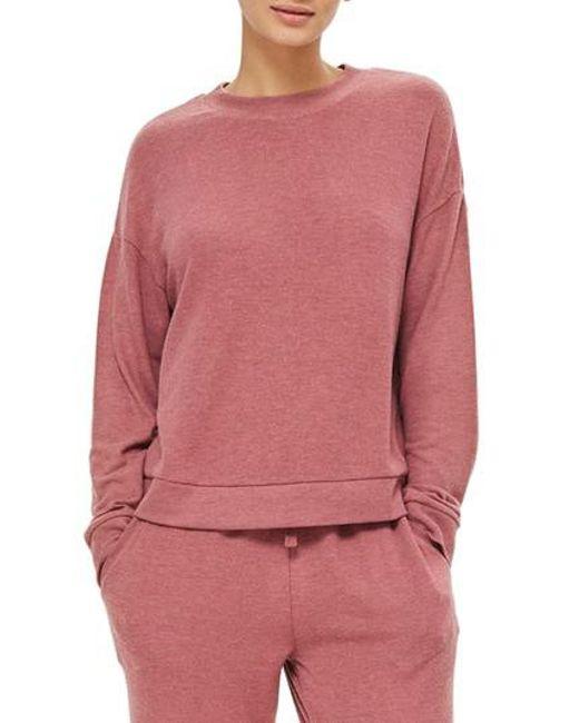 TOPSHOP - Pink Rose Sweatshirt - Lyst