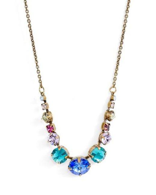 Sorrelli - Metallic Delicate Round Crystal Necklace - Lyst