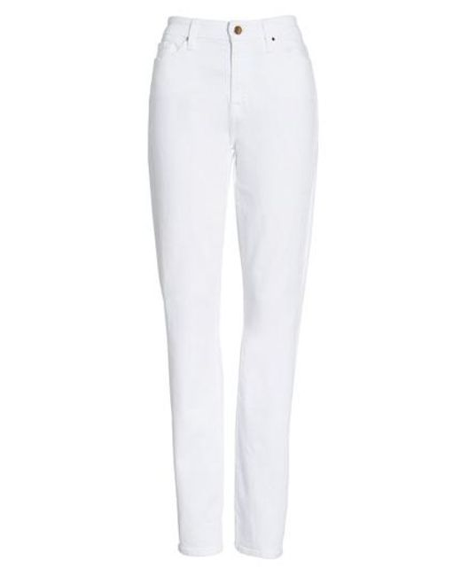 Jen7 | White Stretch Slim Straight Leg Jeans | Lyst