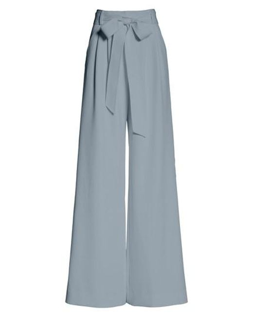 MILLY - White Italian Cady Trapunto Tie Waist Trousers - Lyst