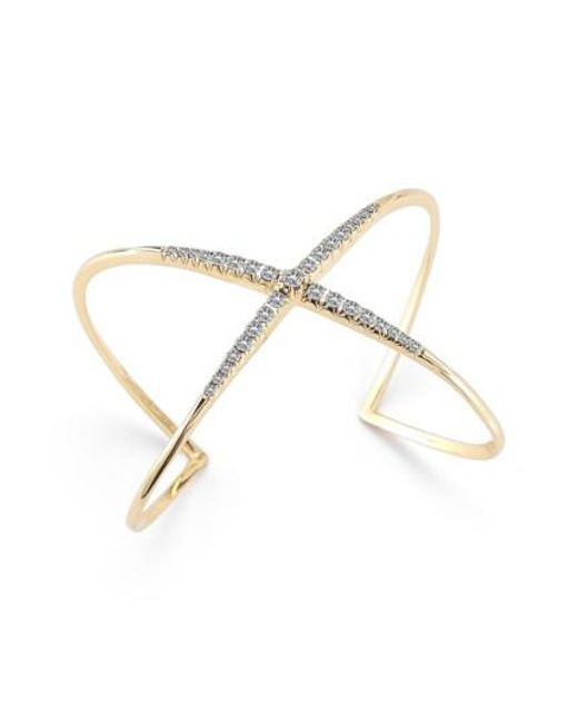 Elizabeth and James - Metallic Windrose Pave Crossover Cuff - Lyst