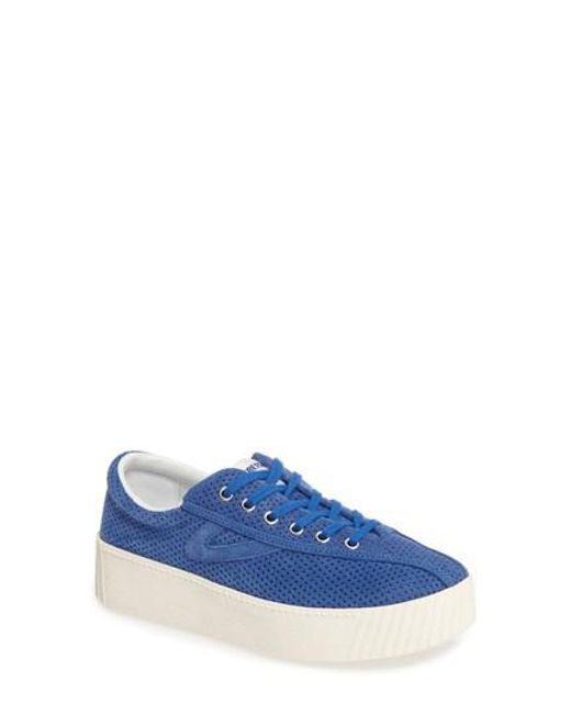 Tretorn   Blue Bold Perforated Platform Sneaker   Lyst
