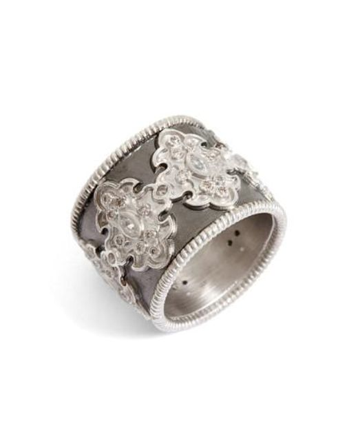 Armenta   Metallic New World Scroll Diamond Band Ring   Lyst