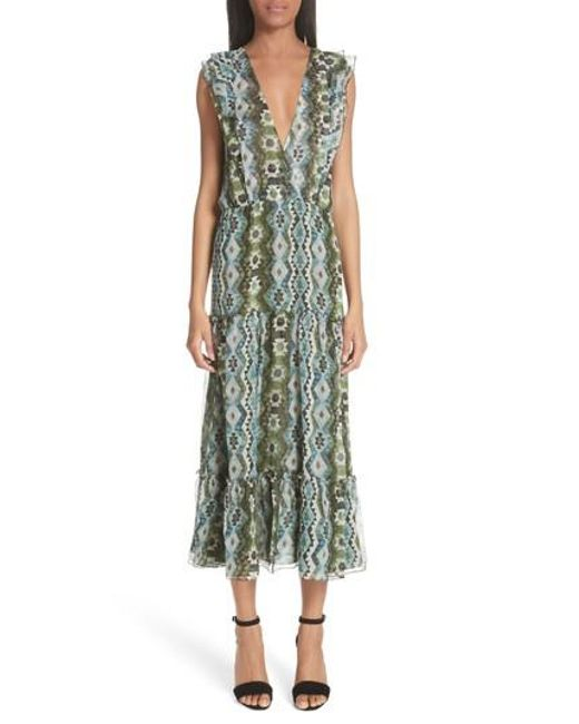 Womens Jorma Geometric-Print Silk Midi-Dress Altuzarra HcCehs8