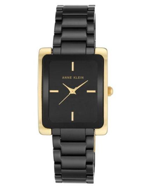 Anne Klein | Black Rectangle Ceramic Bracelet Watch | Lyst