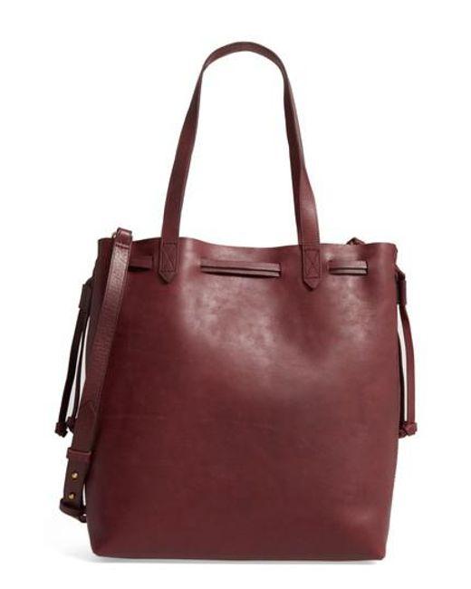 Madewell | Multicolor Medium Transport Leather Bucket Bag - Burgundy | Lyst