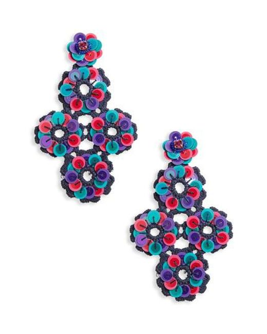 Kate Spade | Blue Posy Grove Sequin Statement Earrings | Lyst