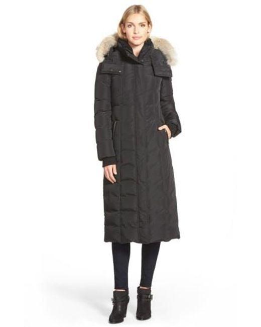 Mackage   Black Long Down Coat With Genuine Coyote Fur & Shearling Trim   Lyst