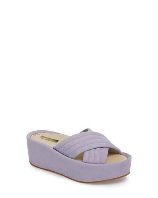 Kenneth Cole New York Damariss Platform Slide Sandal(Women's) -Blue Satin Cheap Sale Clearance Store Shop Clearance Finishline New And Fashion KhKVH