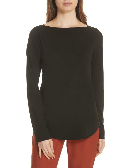 Eileen Fisher - Blue Bateau Neck Organic Cotton Tee - Lyst