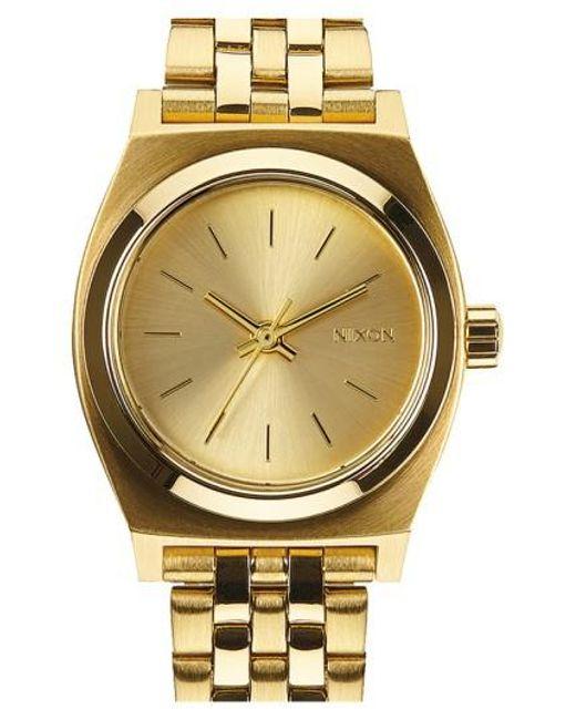 Nixon | Metallic 'the Small Time Teller' Bracelet Watch | Lyst