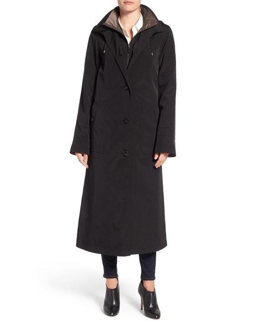 Gallery - Black Full Length Two-tone Silk Look Raincoat - Lyst