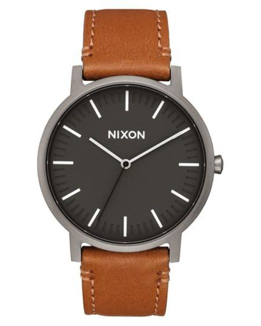 Nixon   Multicolor The Porter Leather Strap Watch for Men   Lyst