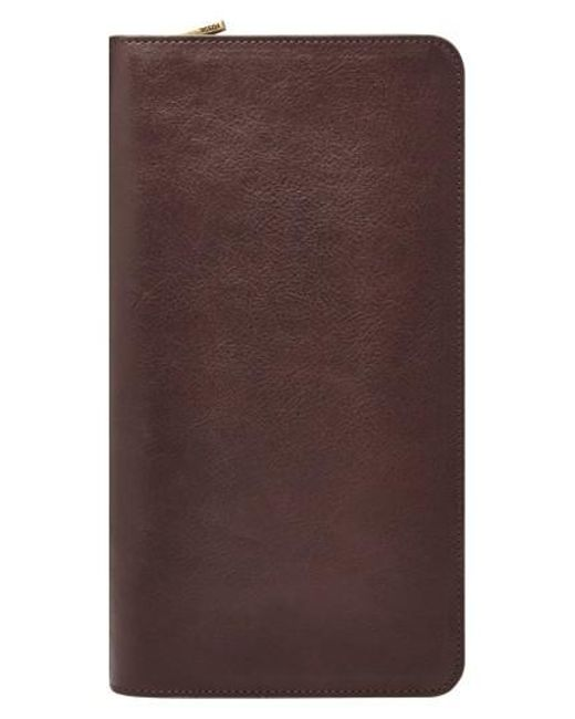 Fossil | Brown Leather Zip Passport Case for Men | Lyst