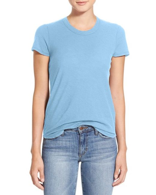 James perse crew neck cotton t shirt in blue lyst for James perse t shirts sale