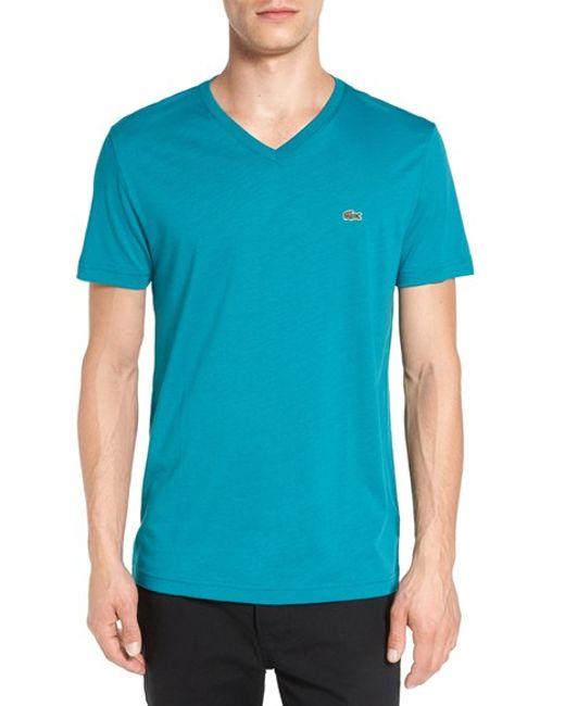 Lacoste | Black Pima Cotton Jersey V-neck T-shirt for Men | Lyst