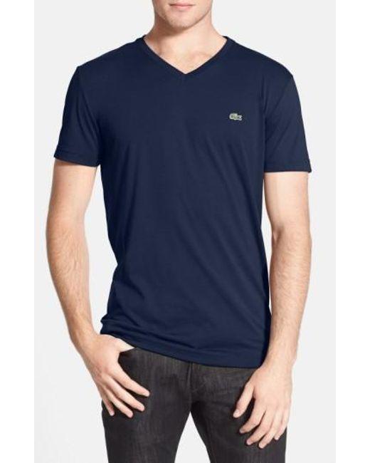 Lacoste | Blue Pima Cotton Jersey V-neck T-shirt for Men | Lyst