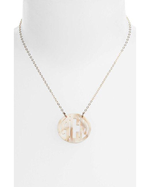 Moon & Lola - Metallic Small Personalized Monogram Pendant Necklace (nordstrom Exclusive) - Lyst