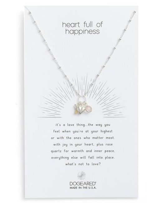Dogeared | Metallic Heart Full Of Happiness Puffy Pendant Necklace | Lyst