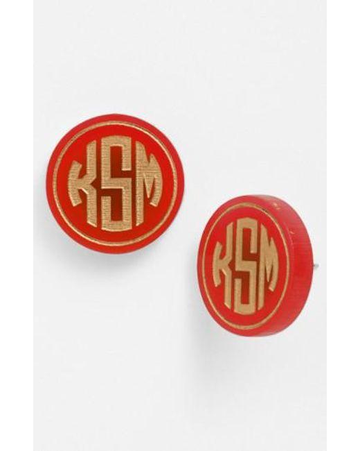 Moon & Lola - Metallic 'chelsea' Medium Personalized Monogram Stud Earrings (nordstrom Exclusive) - Lyst