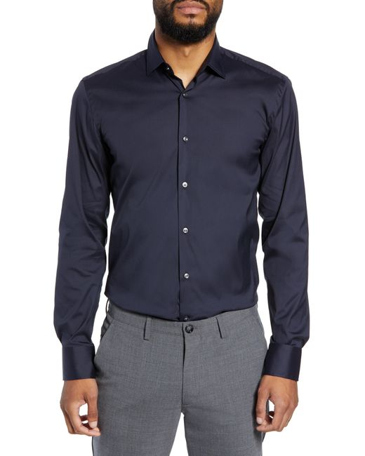 BOSS - Blue Jenno Slim Fit Stretch Solid Dress Shirt for Men - Lyst