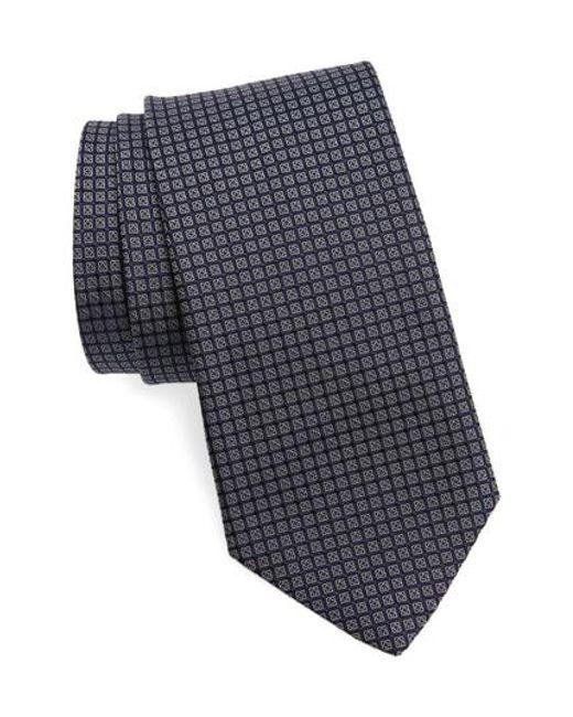 John Varvatos - Blue Check Silk Tie for Men - Lyst