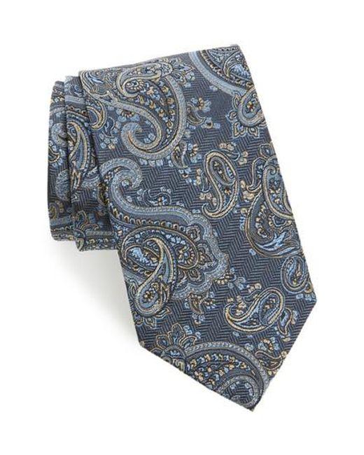 David Donahue   Blue Paisley Silk Tie for Men   Lyst
