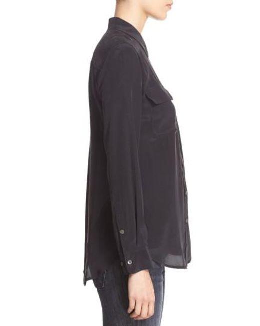 Equipment - Black 'slim Signature' Silk Shirt - Lyst