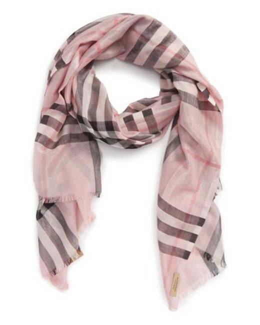 Burberry - Pink Metallic Giant Check Scarf - Lyst