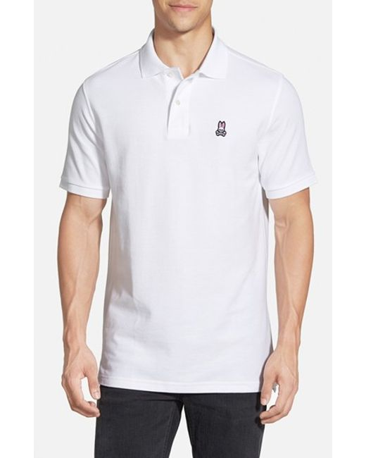 Psycho Bunny | White The Classic Pique Knit Polo for Men | Lyst